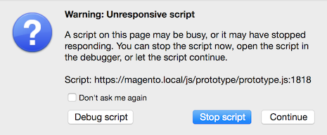 Screenshot of an unresponsive script error from Firefox