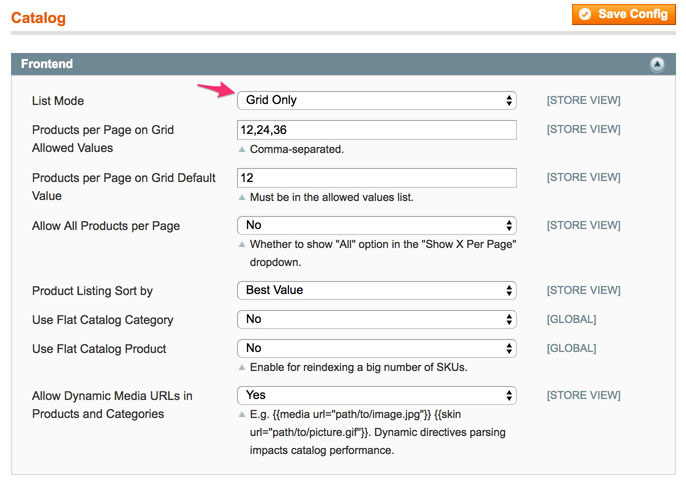 A screenshot showing how to turn off list view in the admin panel of Magento 1