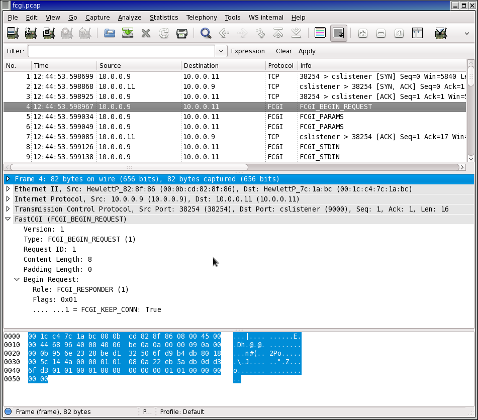 Image from Wireshark FastCGI Wiki showing pcap with detailed FastCGI info