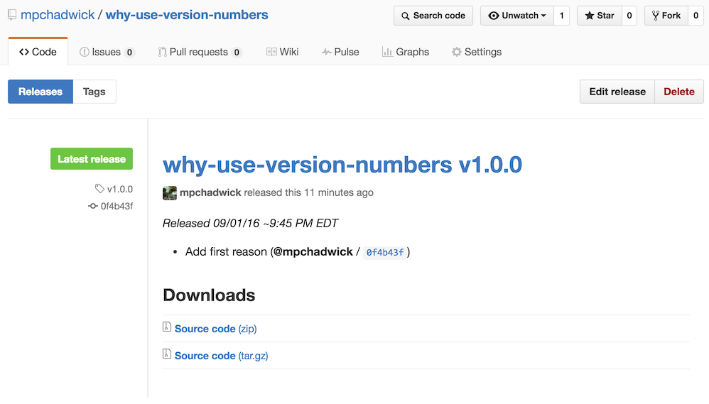 Example of how to use GitHub release notes