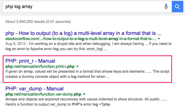 Log PHP Array Google Search Results