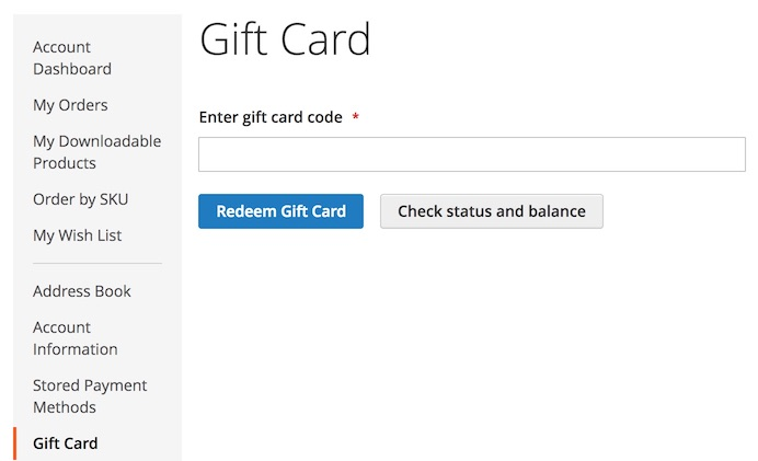 A screenshot showing the UI for gift card account redemption