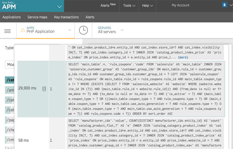 A screenshot showing New Relic's production traces