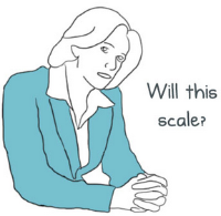 "Image of lady sitting in meeting asking ""Will this scale?"""