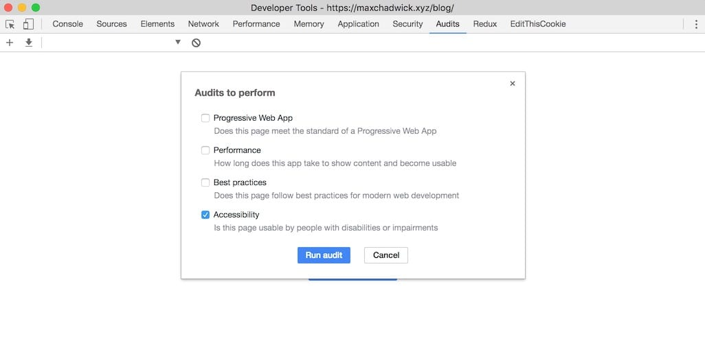 Google Chrome Accessibility Audit
