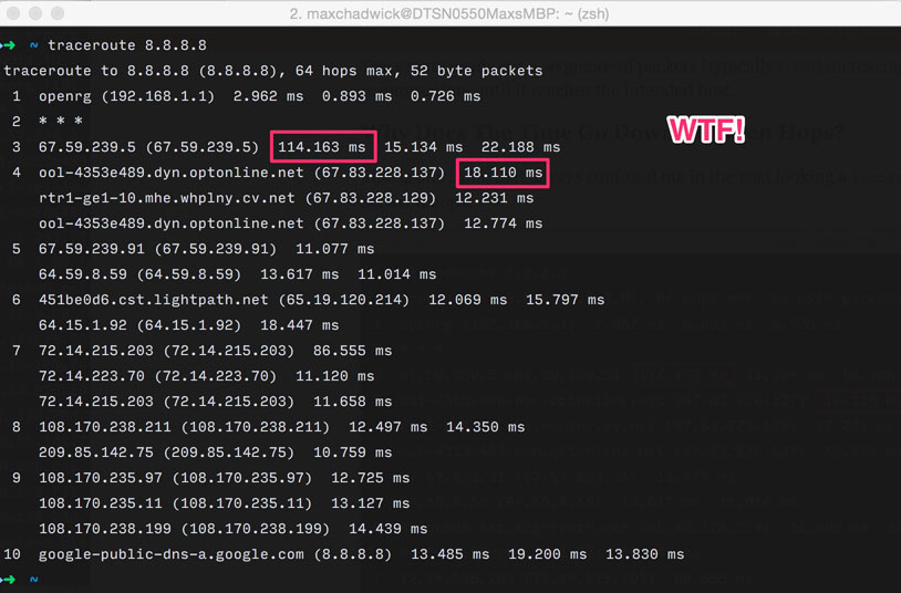 Traceroute time goes down between hops