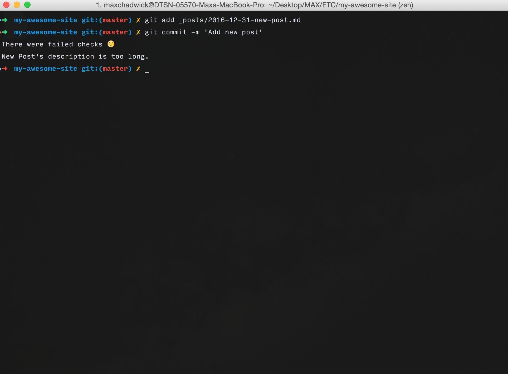 A screenshot of a terminal while using jekyll-pre-commit